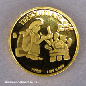 Mexiko 2 Pesos 1_20 oz Azteken Gold 1999 Teocuitlatl