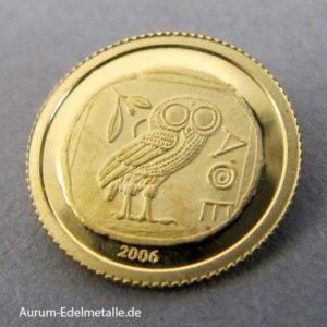 Afrika Kongo 10 Francs Minigoldmünze Eule von Athen 2006
