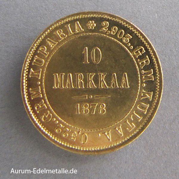 Finnland 10 Markkaa Goldmünze 1809-1917