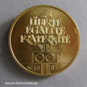 Frankreich 100 Francs Gold 1987 General Lafayette