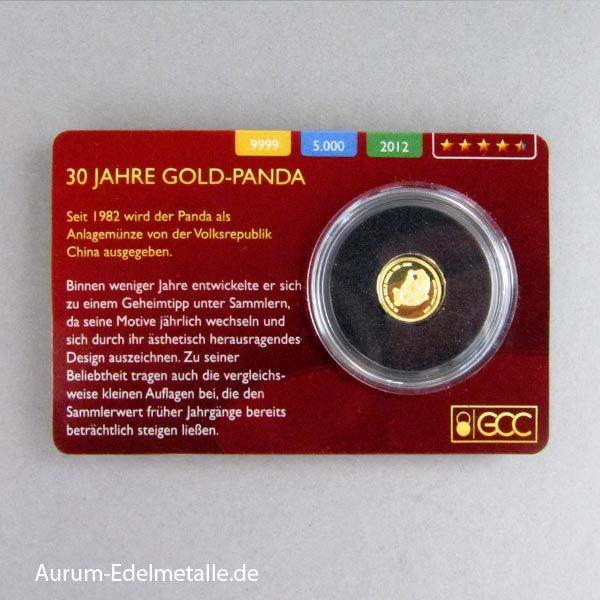 Laos 0_5g Goldmünze 30 Jahre Panda 2012 Scheckkarte