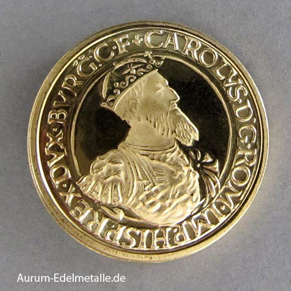 Belgien 50 Ecu Goldmünze Charles V 1987