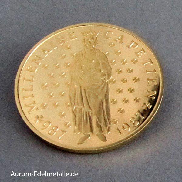 Frankreich 10 Francs Goldmünze 1987 Hugo Capet