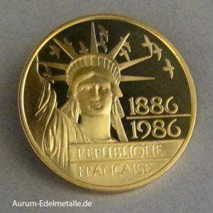 Frankreich 100 Francs Gold 1986 Freiheitsstatue