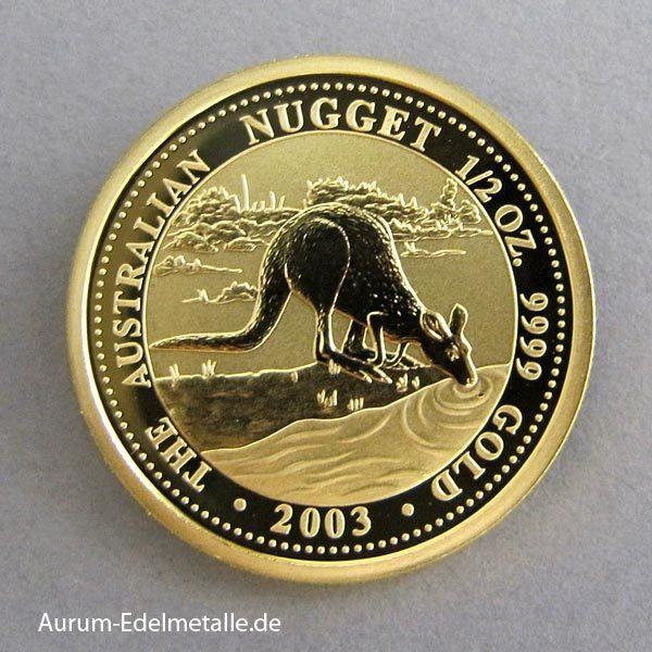 Australien 1_2 oz Kangaroo Nugget 2003 Gold
