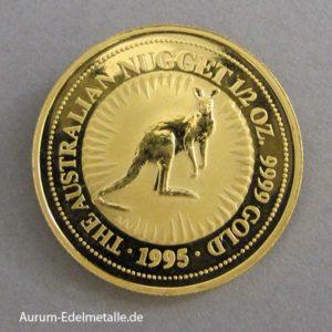 Australien 1_2 oz Kangaroo Nugget Gold 1995