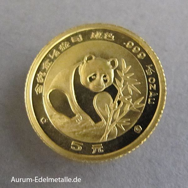 China Panda 5 Yuan 1_20 oz Goldmünze 1988
