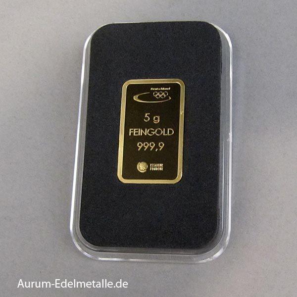 Goldbarren 5 g Deutsche Olympiamannschaft