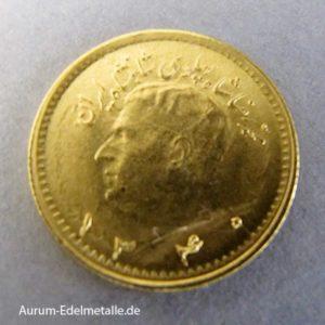 Goldmuenze 1_4 Pahlavi Iran Schah Reza