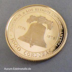 Nicaragua 1000 Cordoba Gold 1975 USA Bicentennial
