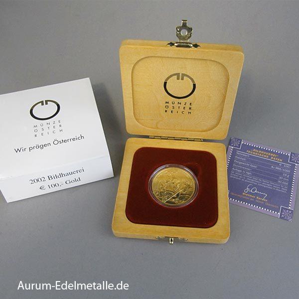 Österreich 100 Euro Goldmünze Bildhauerei 2002
