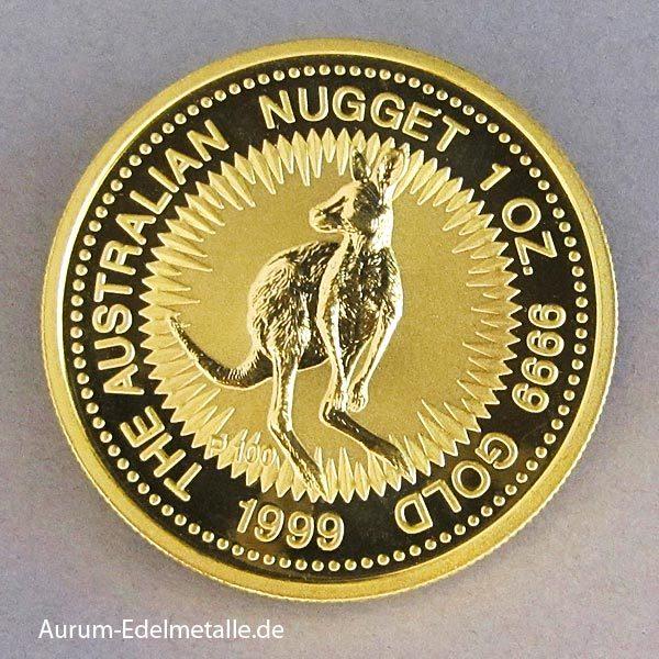 Australien 1 oz Kangaroo Nugget Goldmünze 1999
