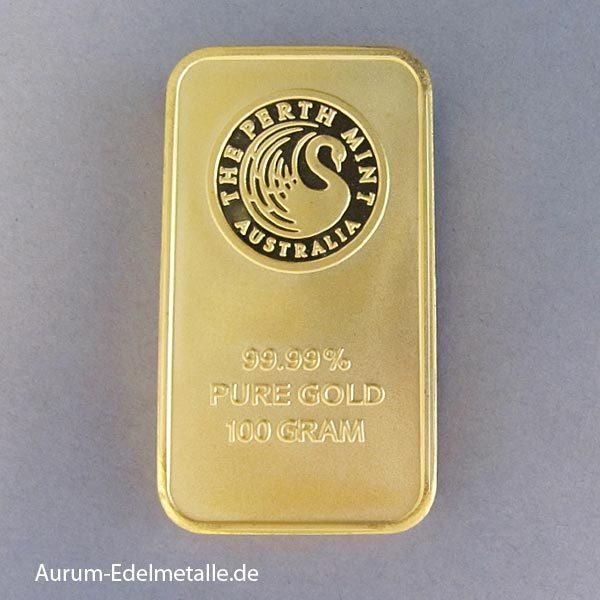 Goldbarren 100 g Perth Mint Kangaroo