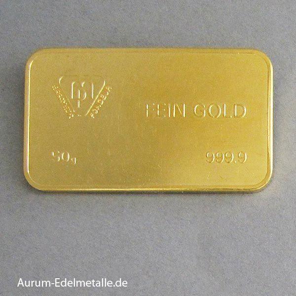 Goldbarren 50g Bank LEU Zurich Sammlerbarren
