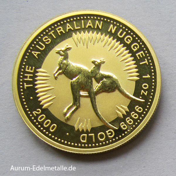 Australien 1 oz Kangaroo Nugget 2000 Goldmünze