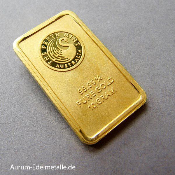 Goldbarren 10 g Perth Mint Kangaroo
