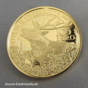 Rothirsch Goldmünze Österreich 2013