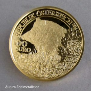 Österreich 100 Euro Wildschwein 2014 Goldmünze