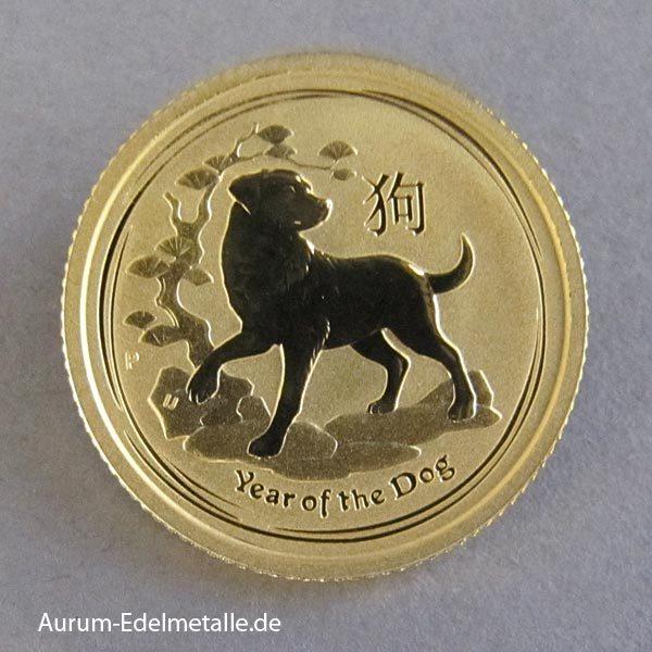Australien 1/10 oz Gold Lunar II Hund 2018
