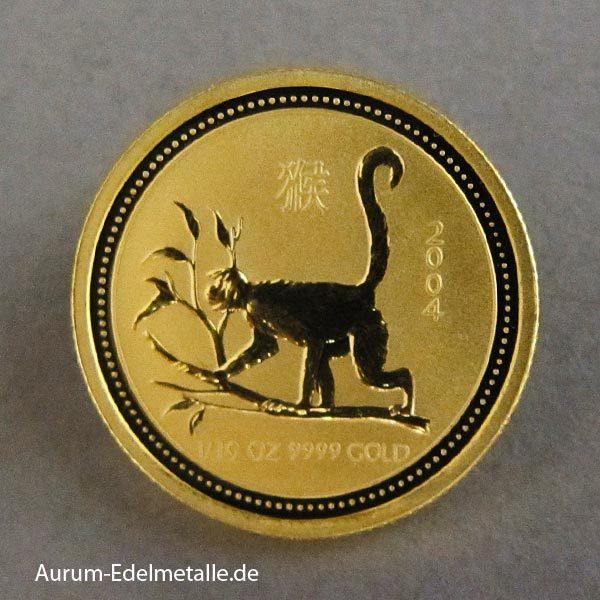 Australien Lunar I Goldmünze 1_10 oz Affe 2004