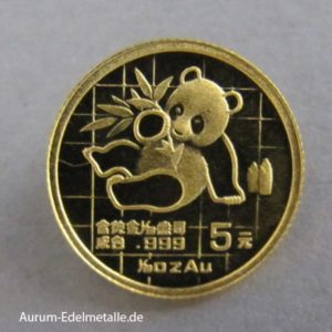 China Panda 5 Yuan 1/20 oz Goldmünze 1989