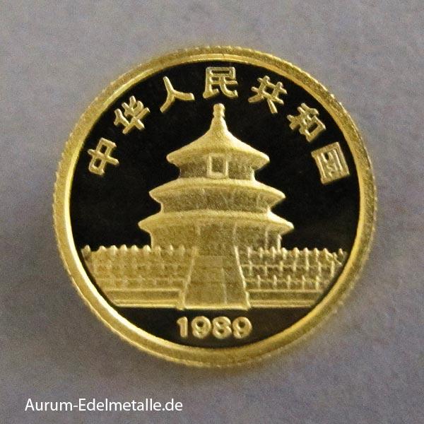 China Panda 5 Yuan 1/20 oz Goldmünze 1989