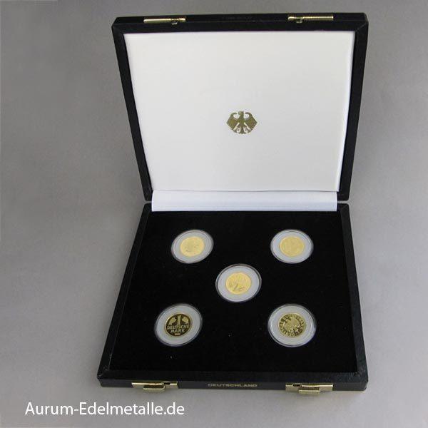 1 DM Gold 5 Stück A-D-F-G-J Set 2001