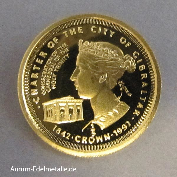 Gibraltar 1_5 Crown 1992 Goldmünze Diözese