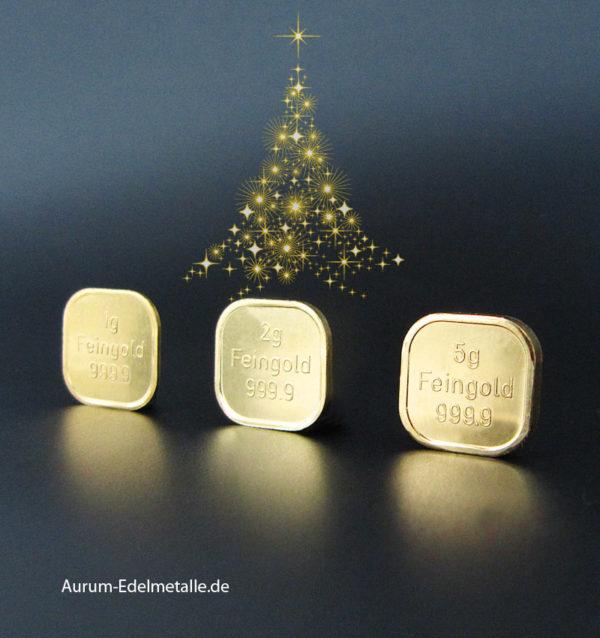 Goldbarren 8 g Weihnachten Geschenk Zertifikat
