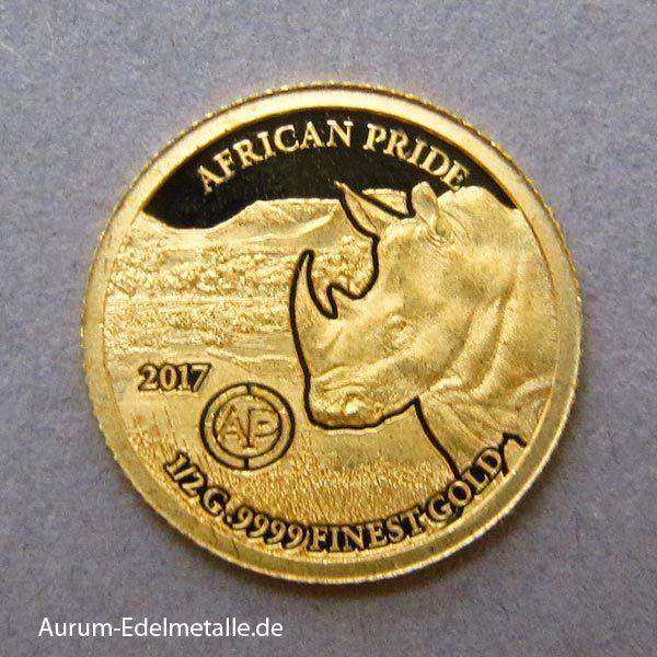 africans-pride-2017 goldmünzen Nashorn