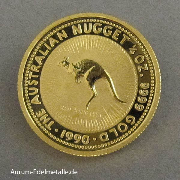 Australien 1_4 oz Kangaroo Nugget Goldmünze 1990