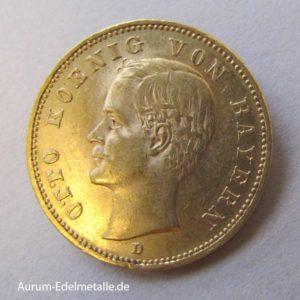 Deutsches Reich 20 Mark Gold Otto Bayern 1866-1913