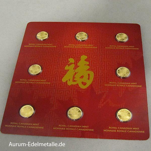 Gold Maplegram 8 x 1 g Goldmünzen Maple Leaf