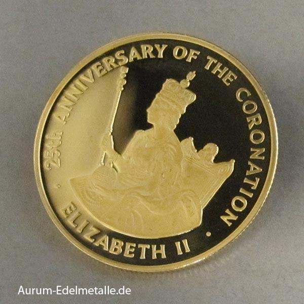 Goldmünze Jamaika 100 Dollars Elizabeth 1953-1978