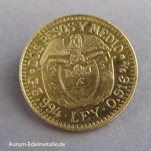Kolumbien 2_5 Pesos Gold 1913-1930