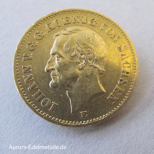 Deutsches Reich 20 Mark Gold Johann Sachsen 1872-1873