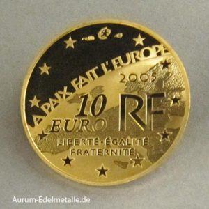 Frankreich 10 Euro 2005 Goldmünze 60 Jahre Frieden