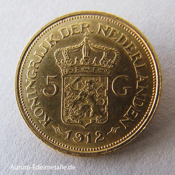 Niederlande 5 Gulden Wilhelmina Goldmünze 1898-1933