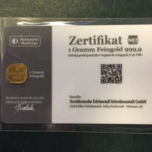 1g Goldbarren Feingold 999.9 Norddeutsche ES SecureBlist