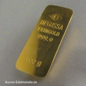 Goldbarren 100g gegossen historisch Sargform Degussa