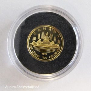 Goldmünze 1_25 oz Kanu 2005