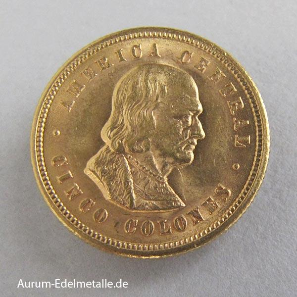 Costa Rica Goldmünze 5 Colones 1899-1900