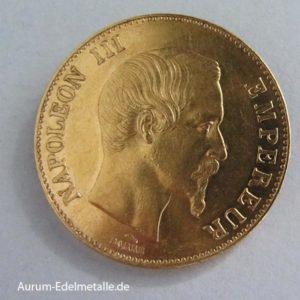 Frankreich 100 Francs Gold Napoleon III Paris 1857 A