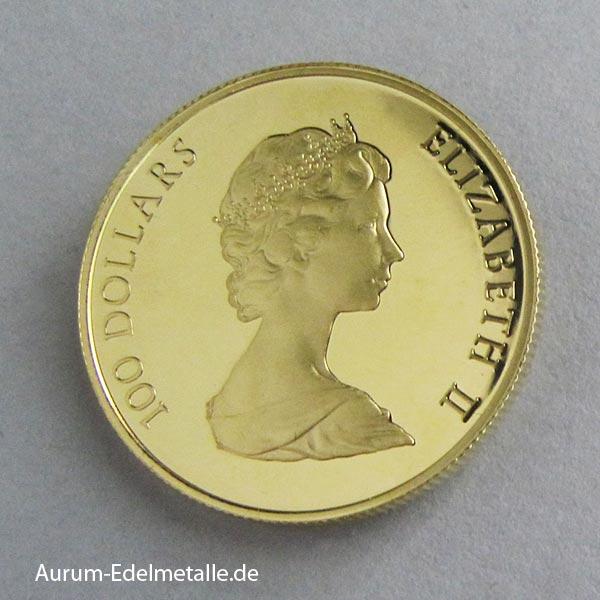 Goldmünze 100 Dollars Elisabeth II