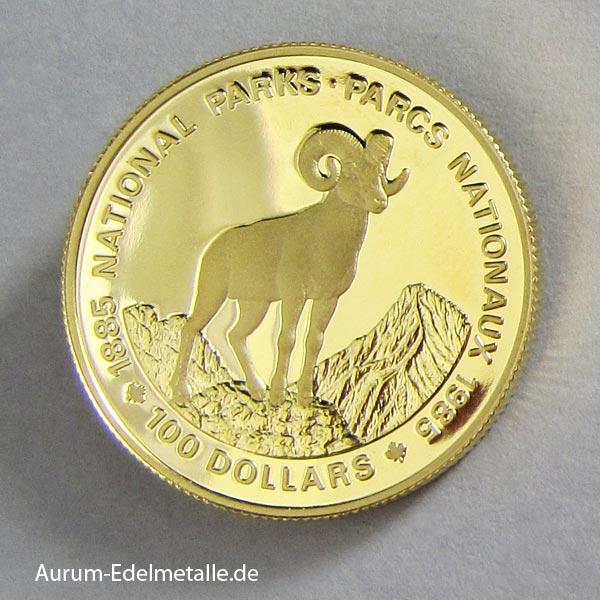 Kanada 100 Dollars Gold National Parks Schaf 1985