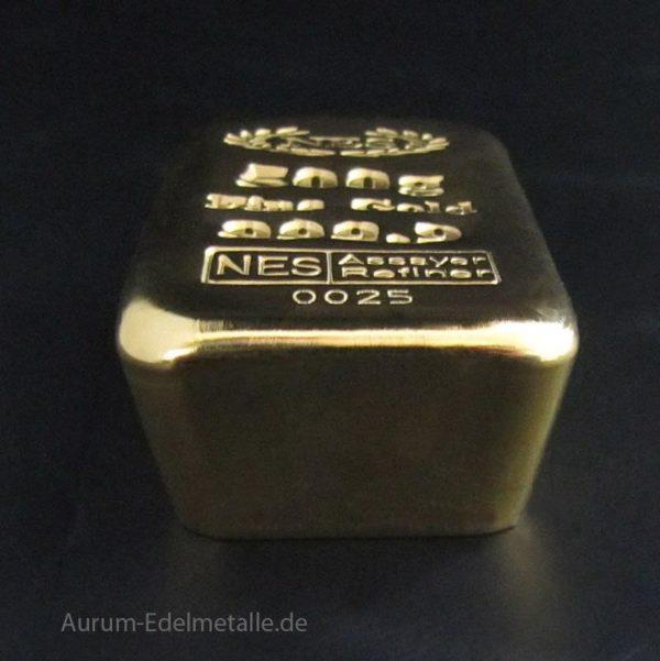 500g Goldbarren 9999 Feingold Norddeutsche