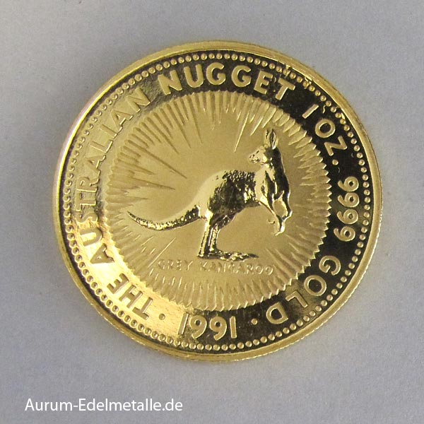 Australien1 ozKangaroo 1991 Goldmünze