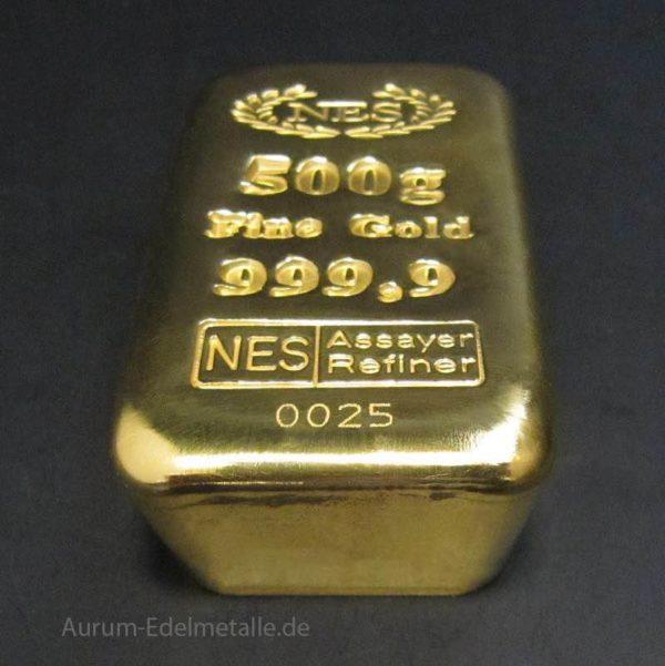 Goldbarren 9999 Feingold 500 g Norddeutsche