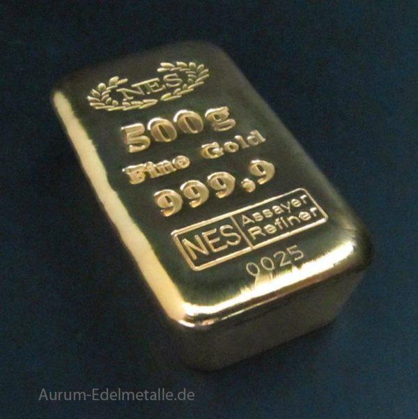 NES Goldbarren 500 Gramm Feingold 9999