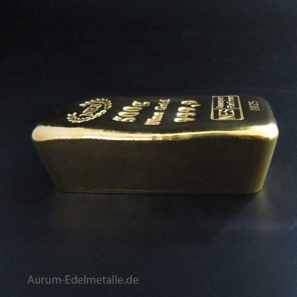 Norddeutsche Goldbarren 500g Fraingold 9999